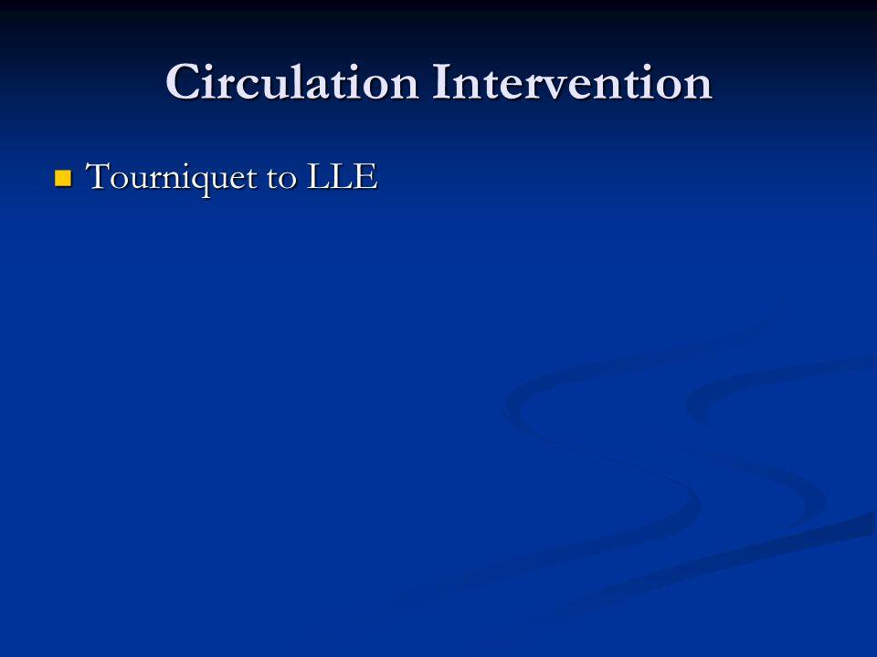 Circulation Intervention Tourniquet to LLE Tourniquet to LLE