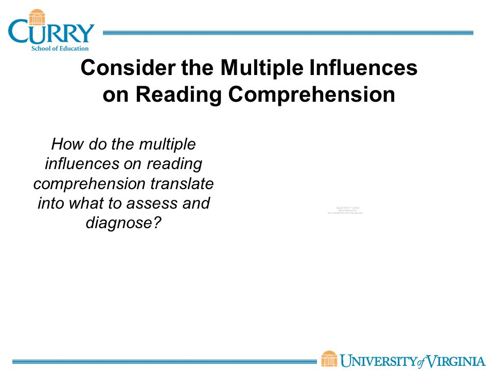 Consider the Multiple Influences on Reading Comprehension How do the multiple influences on reading comprehension translate into what to assess and diagnose?