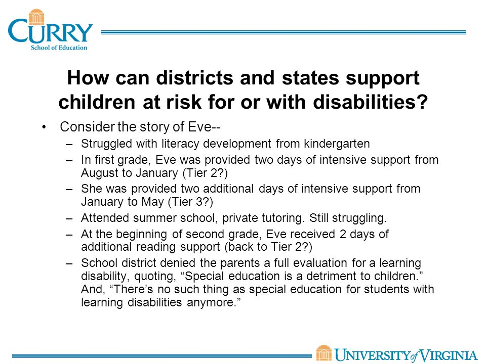 How can districts and states support children at risk for or with disabilities.
