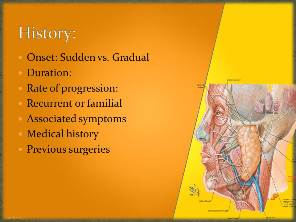Onset: Sudden vs. Gradual Duration: Rate of progression: Recurrent or familial Associated symptoms Medical history Previous surgeries