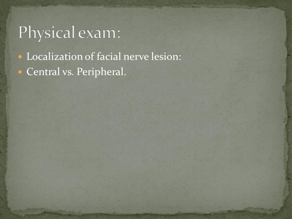 Localization of facial nerve lesion: Central vs. Peripheral.