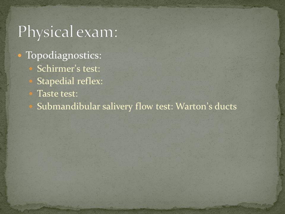 Topodiagnostics: Schirmer ' s test: Stapedial reflex: Taste test: Submandibular salivery flow test: Warton ' s ducts