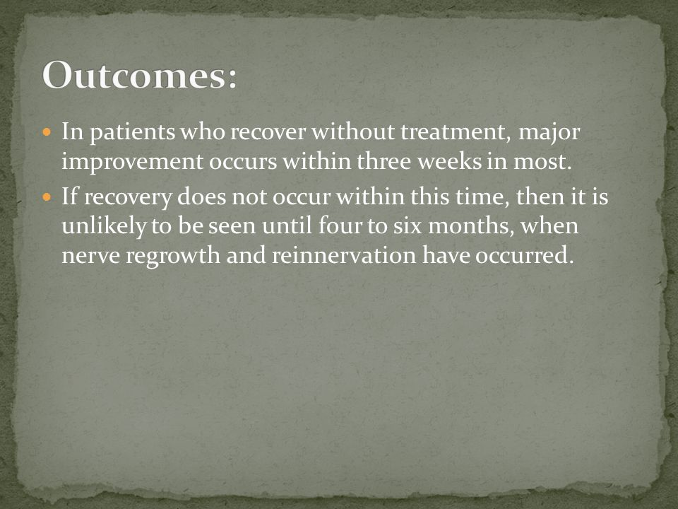 In patients who recover without treatment, major improvement occurs within three weeks in most. If recovery does not occur within this time, then it i