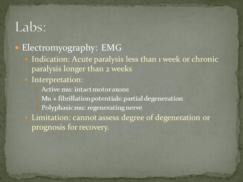 Electromyography: EMG Indication: Acute paralysis less than 1 week or chronic paralysis longer than 2 weeks Interpretation: Active mu: intact motor ax