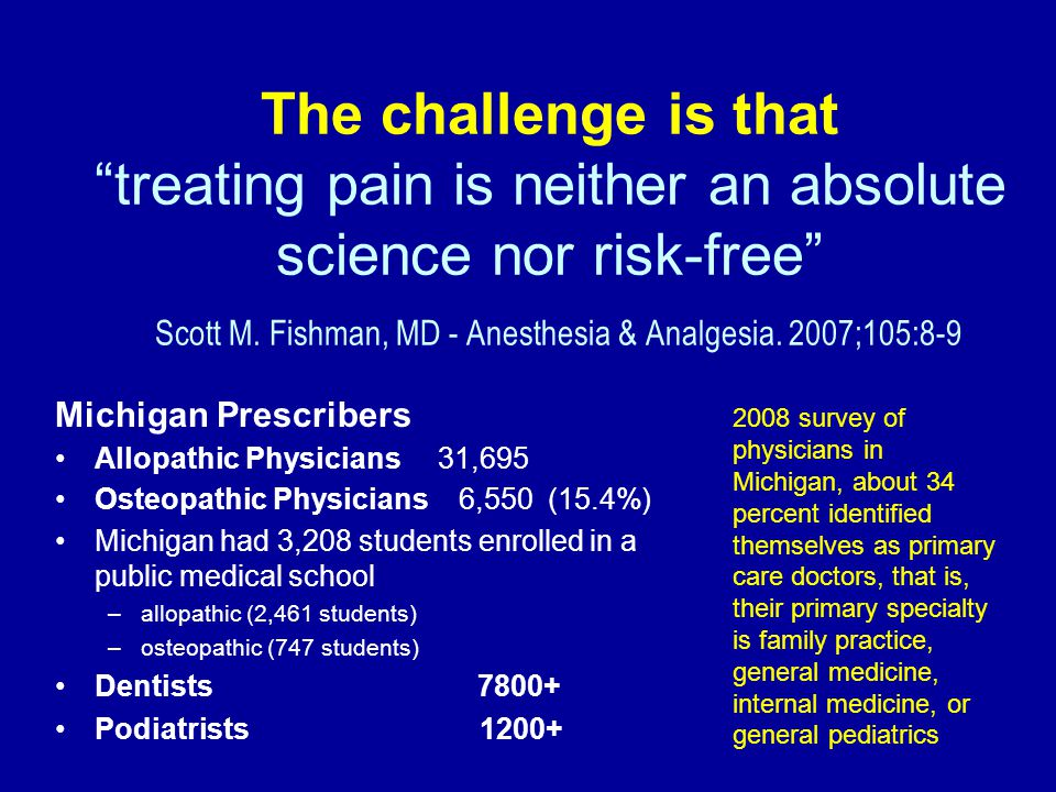 "The challenge is that ""treating pain is neither an absolute science nor risk-free"" Scott M. Fishman, MD - Anesthesia & Analgesia. 2007;105:8-9 Michiga"