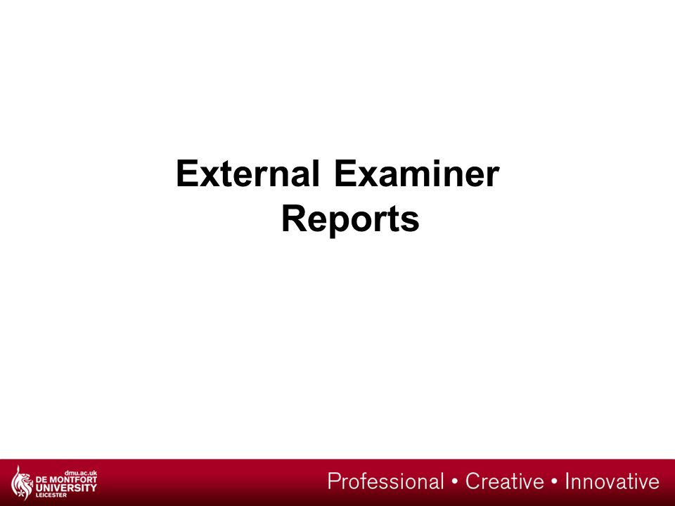 External Examiner Reports