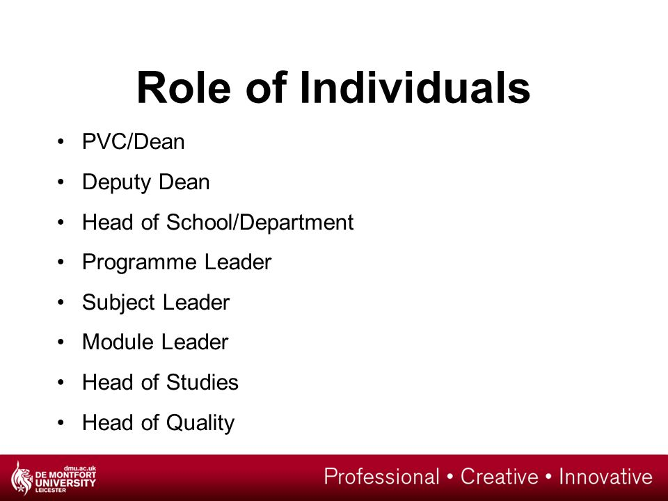 Role of Individuals PVC/Dean Deputy Dean Head of School/Department Programme Leader Subject Leader Module Leader Head of Studies Head of Quality