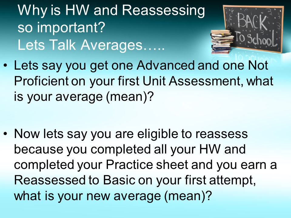 Why is HW and Reassessing so important. Lets Talk Averages…..