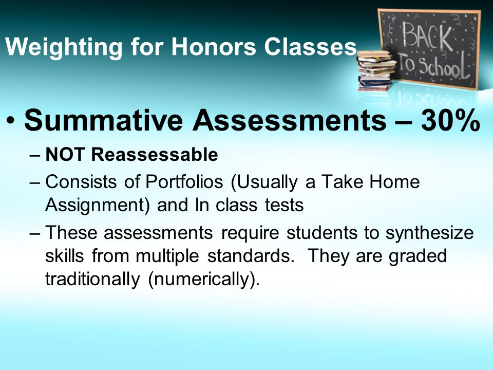 Summative Assessments – 30% –NOT Reassessable –Consists of Portfolios (Usually a Take Home Assignment) and In class tests –These assessments require students to synthesize skills from multiple standards.