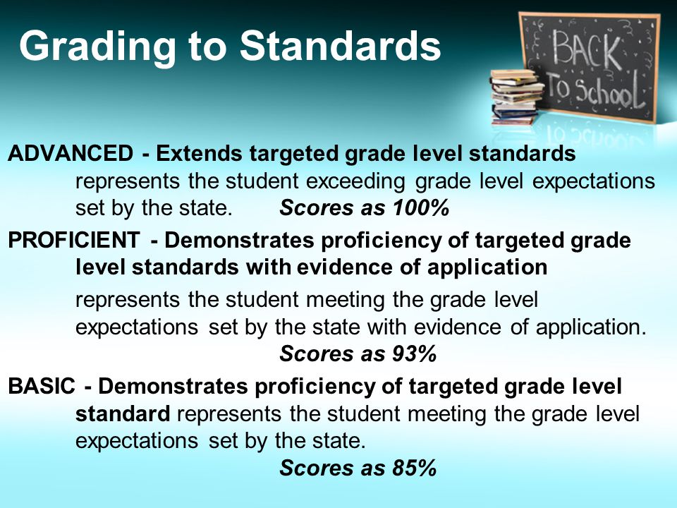 Grading to Standards ADVANCED - Extends targeted grade level standards represents the student exceeding grade level expectations set by the state.