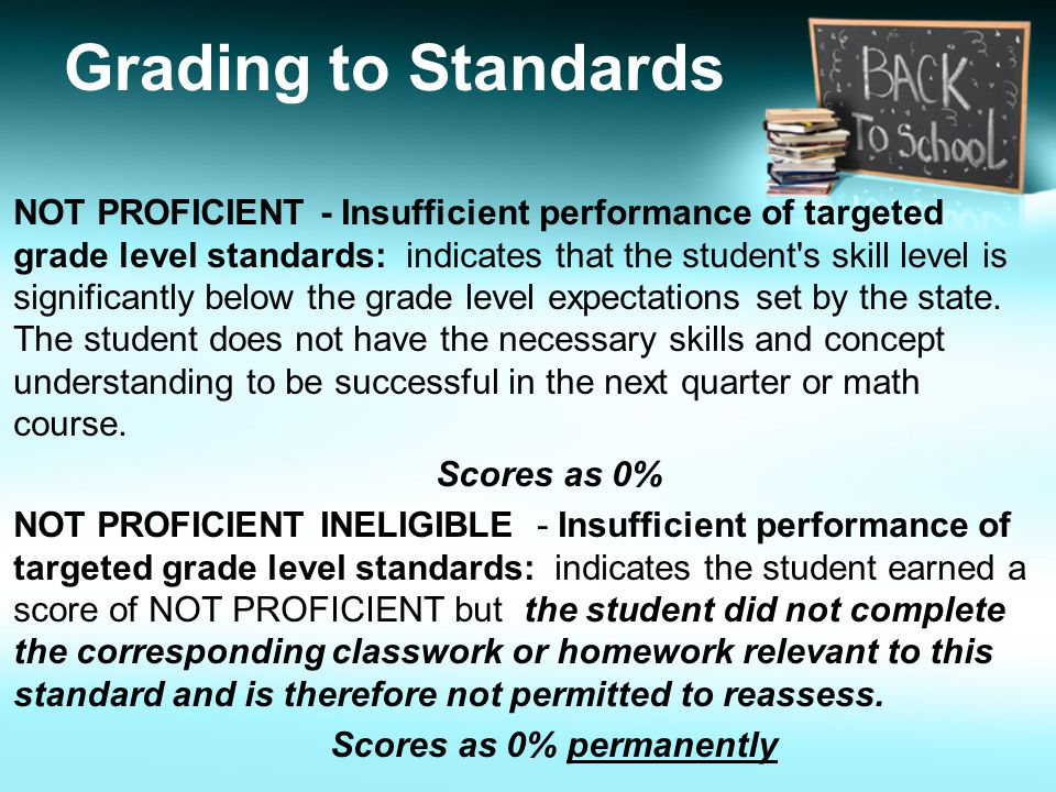 NOT PROFICIENT - Insufficient performance of targeted grade level standards: indicates that the student s skill level is significantly below the grade level expectations set by the state.