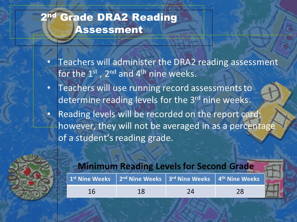 2 nd Grade DRA2 Reading Assessment Teachers will administer the DRA2 reading assessment for the 1 st, 2 nd and 4 th nine weeks. Teachers will use runn