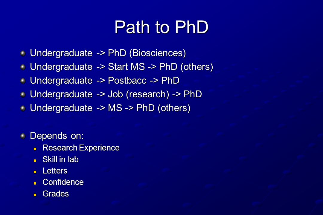 Path to PhD Undergraduate -> PhD (Biosciences) Undergraduate -> Start MS -> PhD (others) Undergraduate -> Postbacc -> PhD Undergraduate -> Job (research) -> PhD Undergraduate -> MS -> PhD (others) Depends on: Research Experience Research Experience Skill in lab Skill in lab Letters Letters Confidence Confidence Grades Grades