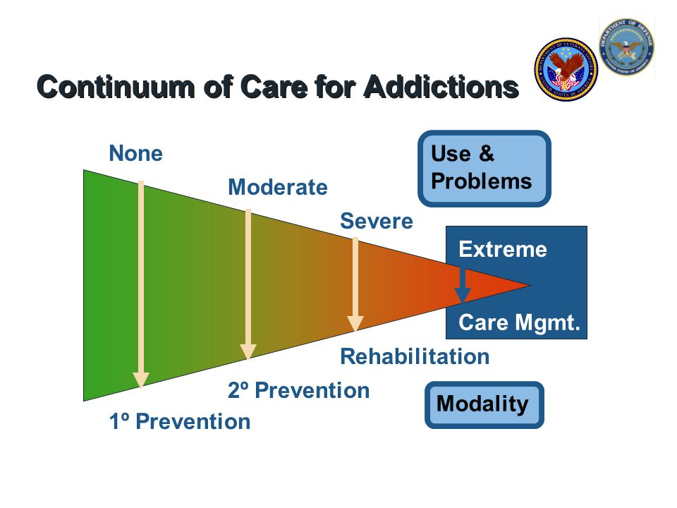 Continuum of Care for Addictions Use & Problems Modality None 1º Prevention 2º Prevention Moderate Severe Rehabilitation Extreme Care Mgmt.