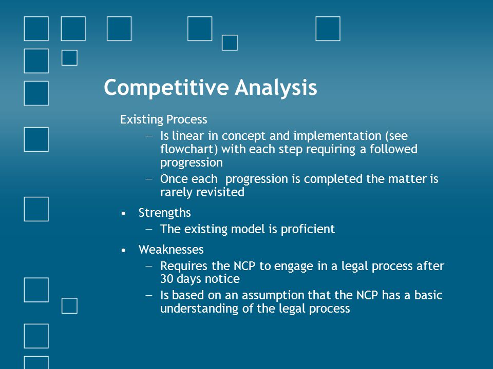 Competitive Analysis Existing Process − Is linear in concept and implementation (see flowchart) with each step requiring a followed progression − Once