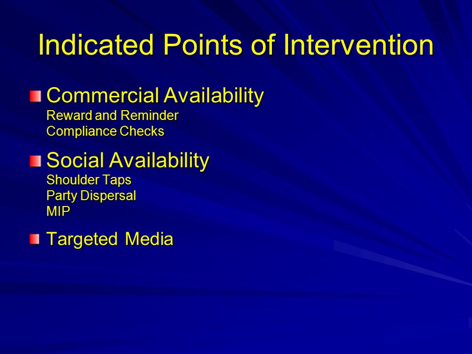 Indicated Points of Intervention Commercial Availability Reward and Reminder Compliance Checks Social Availability Shoulder Taps Party Dispersal MIP Targeted Media