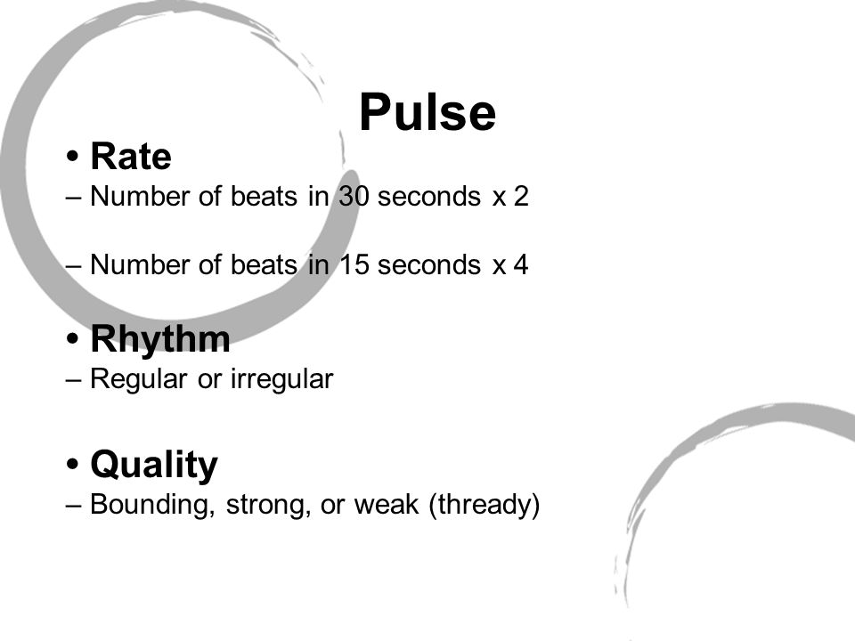 Pulse Rate – Number of beats in 30 seconds x 2 – Number of beats in 15 seconds x 4 Rhythm – Regular or irregular Quality – Bounding, strong, or weak (thready)