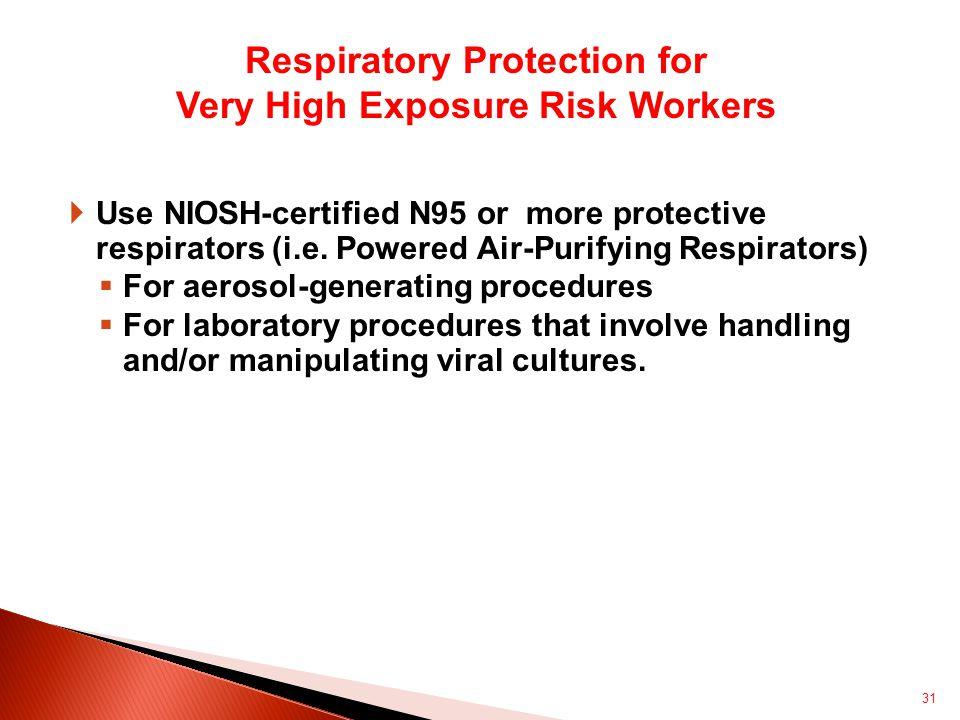  Use NIOSH-certified N95 or more protective respirators (i.e.