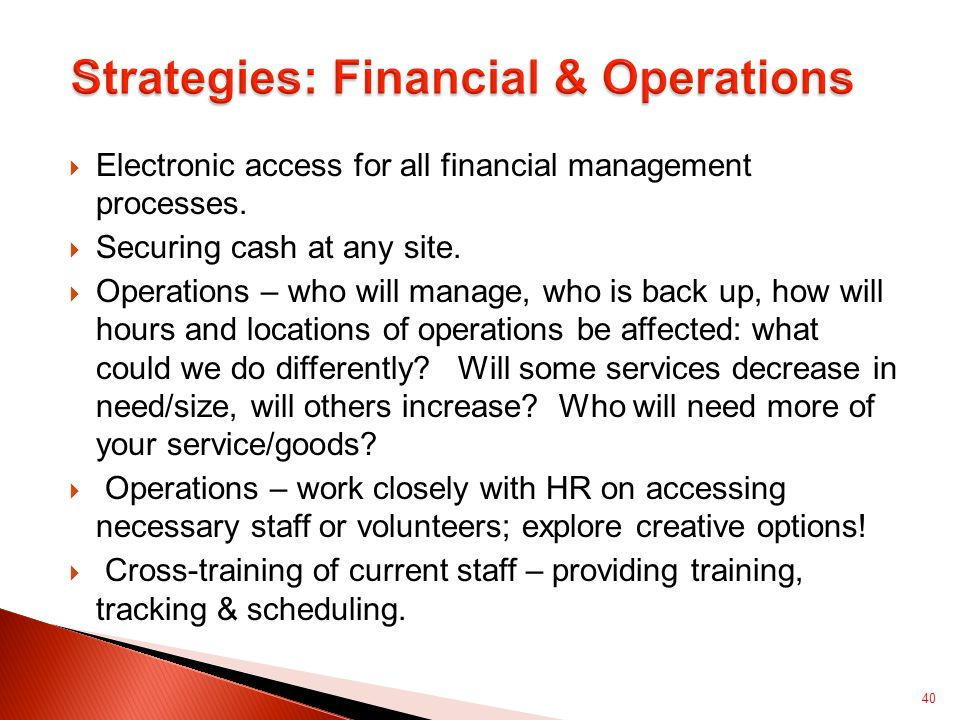  Electronic access for all financial management processes.