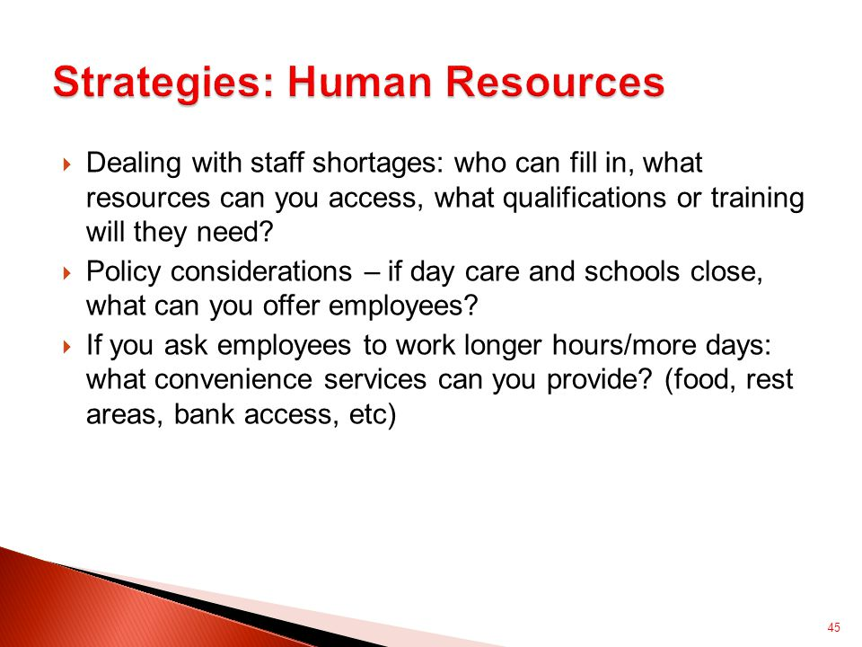  Dealing with staff shortages: who can fill in, what resources can you access, what qualifications or training will they need.