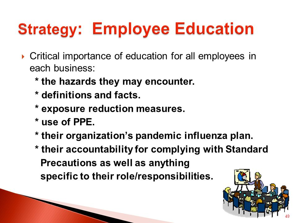  Critical importance of education for all employees in each business: * the hazards they may encounter.