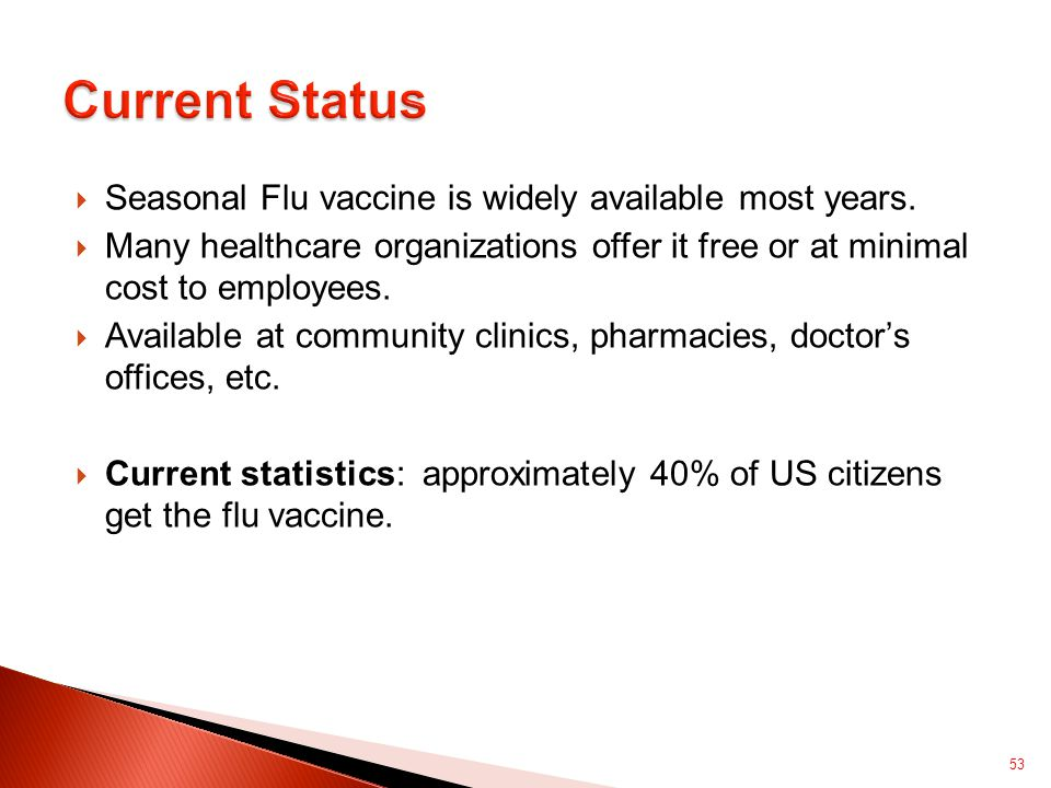  Seasonal Flu vaccine is widely available most years.