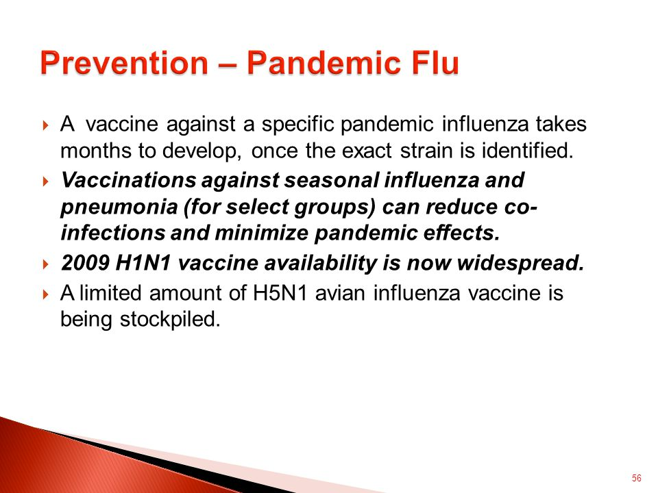  A vaccine against a specific pandemic influenza takes months to develop, once the exact strain is identified.