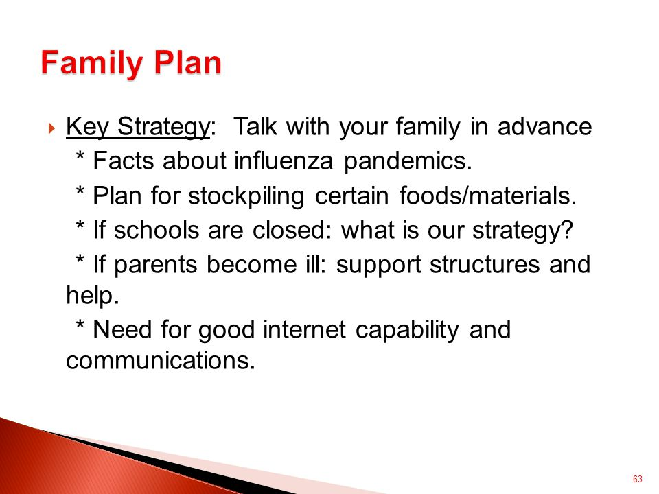  Key Strategy: Talk with your family in advance * Facts about influenza pandemics.