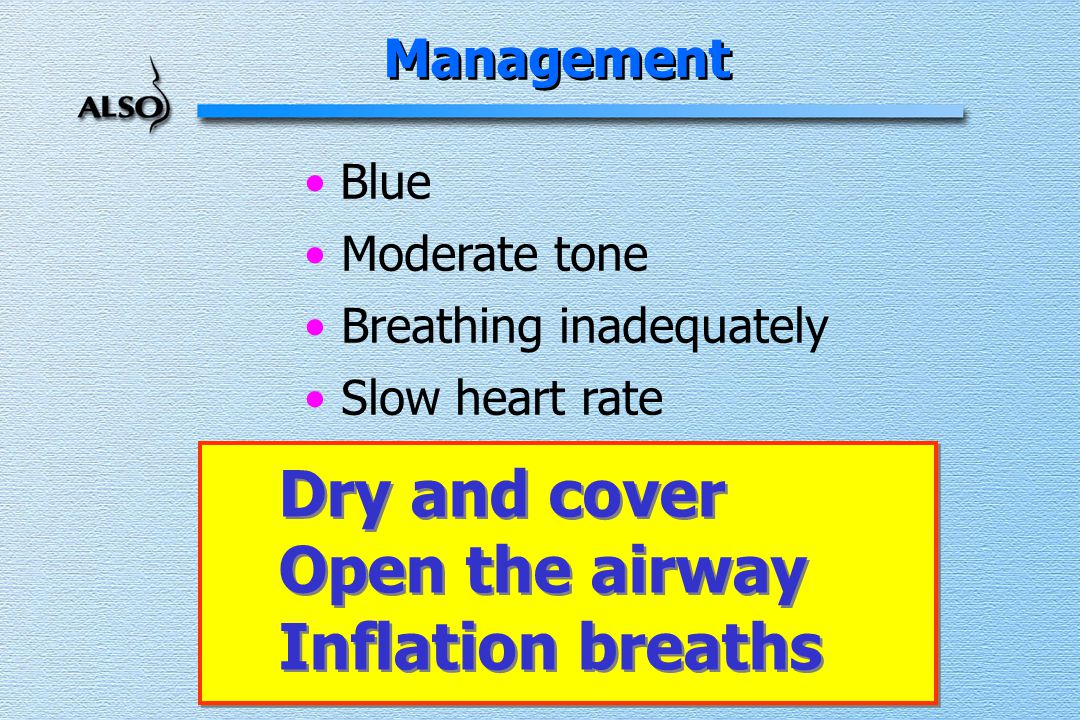 Blue Moderate tone Breathing inadequately Slow heart rate Management Dry and cover Open the airway Inflation breaths Dry and cover Open the airway Inflation breaths