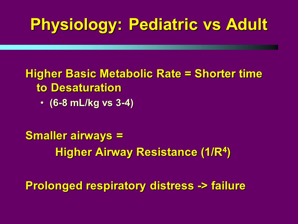Physiology: Pediatric vs Adult Higher Basic Metabolic Rate = Shorter time to Desaturation (6-8 mL/kg vs 3-4)(6-8 mL/kg vs 3-4) Smaller airways = Higher Airway Resistance (1/R 4 ) Prolonged respiratory distress -> failure