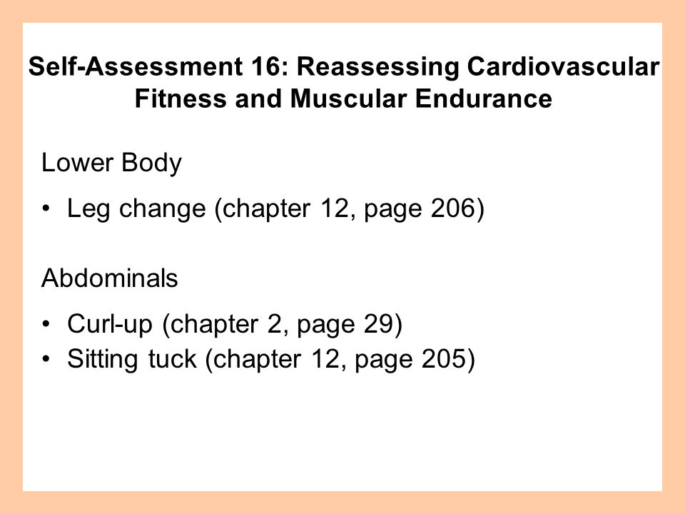Lower Body Leg change (chapter 12, page 206) Abdominals Curl-up (chapter 2, page 29) Sitting tuck (chapter 12, page 205) Self-Assessment 16: Reassessi