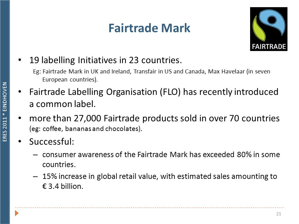 ERES 2011 * EINDHOVEN 21 Fairtrade Mark 19 labelling Initiatives in 23 countries.