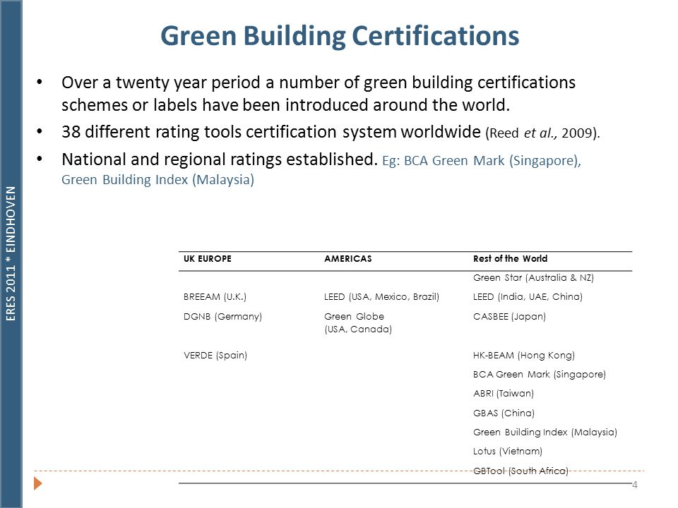 ERES 2011 * EINDHOVEN 4 Green Building Certifications Over a twenty year period a number of green building certifications schemes or labels have been introduced around the world.