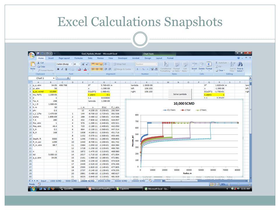 Excel Calculations Snapshots
