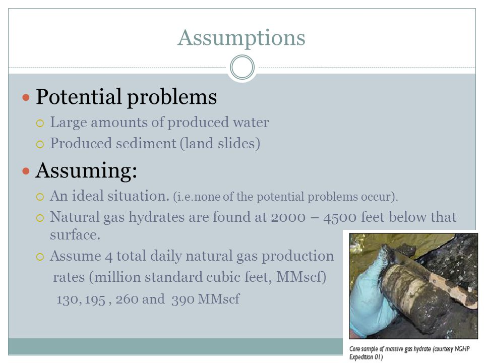 Assumptions Potential problems  Large amounts of produced water  Produced sediment (land slides) Assuming:  An ideal situation.