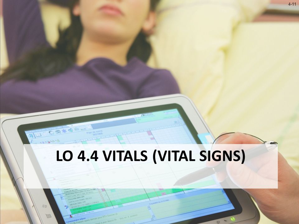 4-12 LO 4.4 Vitals (Vital Signs) Traditional vital signs – Temperature – Blood pressure – Pulse – Respirations Other measurements included by SpringCharts – Height – Weight – Body mass index (BMI) – Body fat percentage