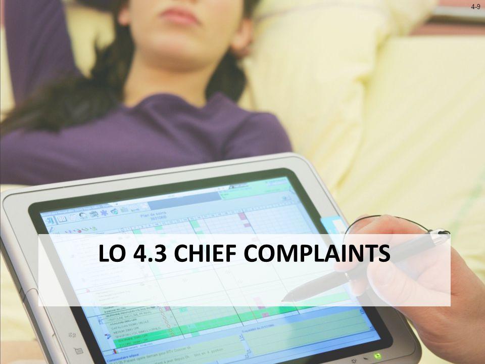 4-9 LO 4.3 CHIEF COMPLAINTS