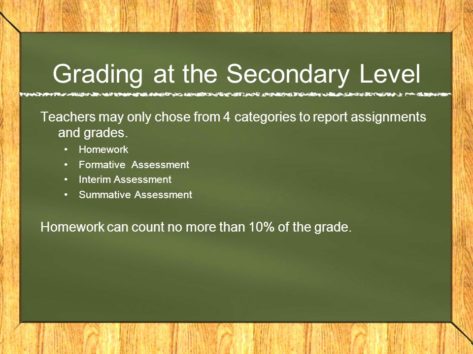 Grading at the Secondary Level Teachers may only chose from 4 categories to report assignments and grades.
