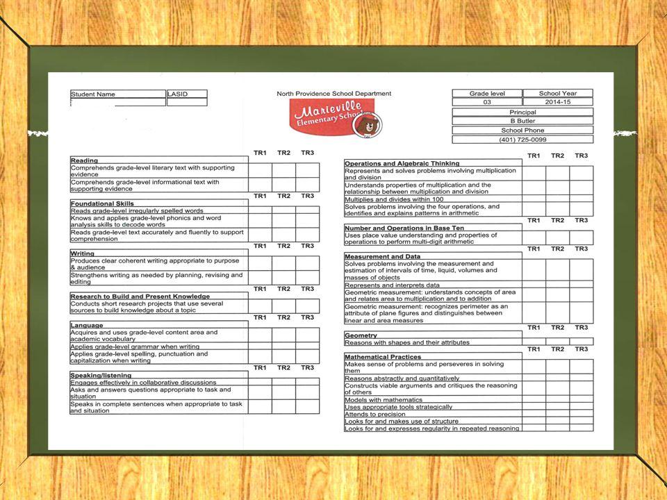 Report Card Samples