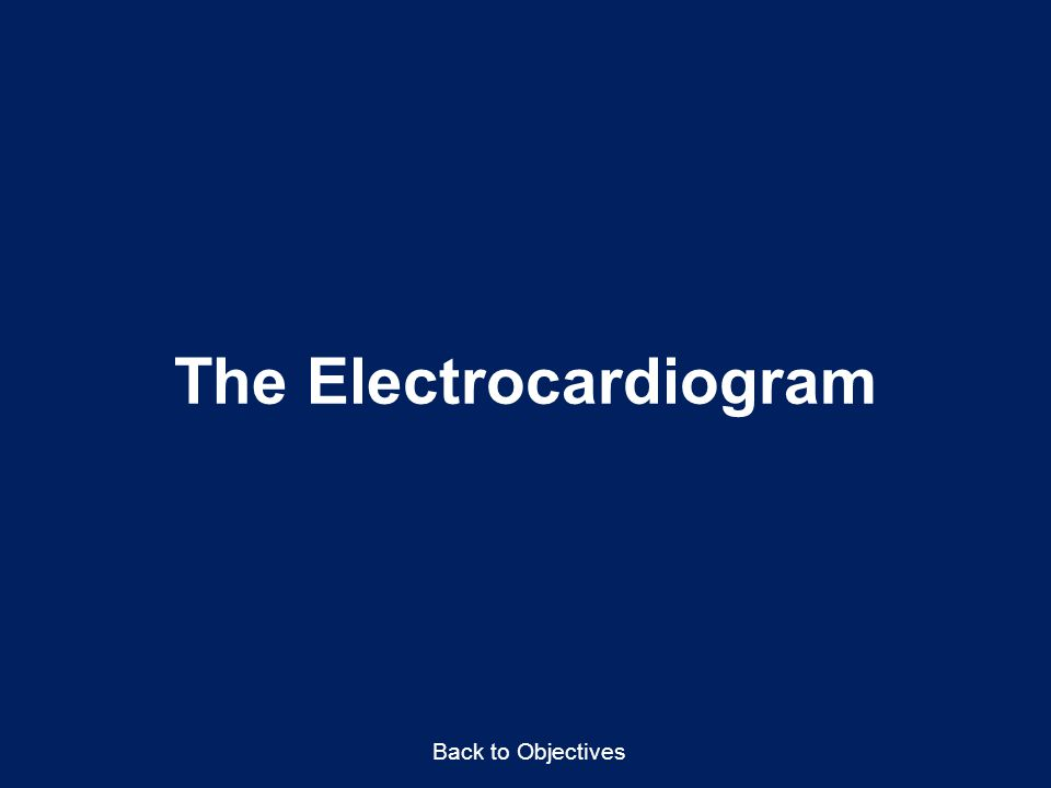 The Electrocardiogram Back to Objectives