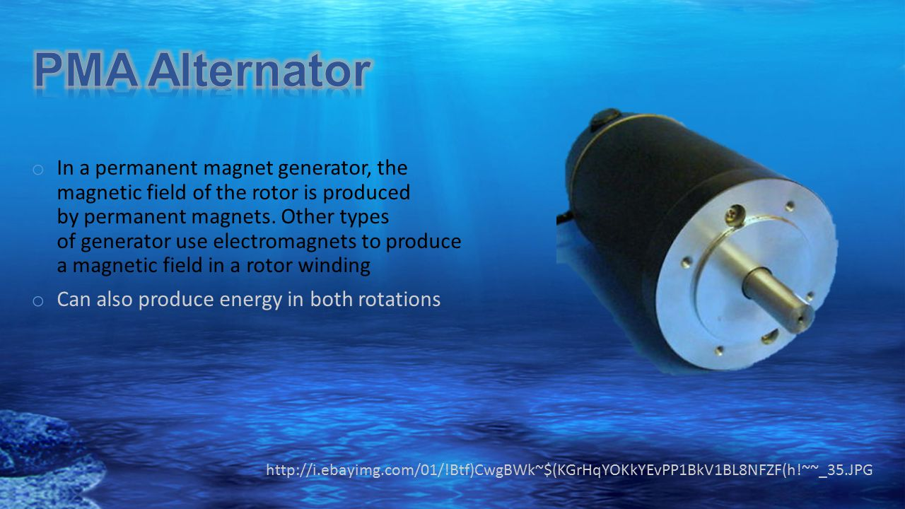 o In a permanent magnet generator, the magnetic field of the rotor is produced by permanent magnets. Other types of generator use electromagnets to pr