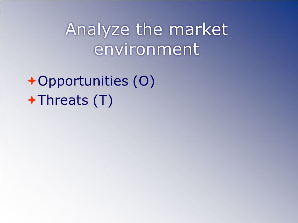 Analyze the market environment  Opportunities (O)  Threats (T)