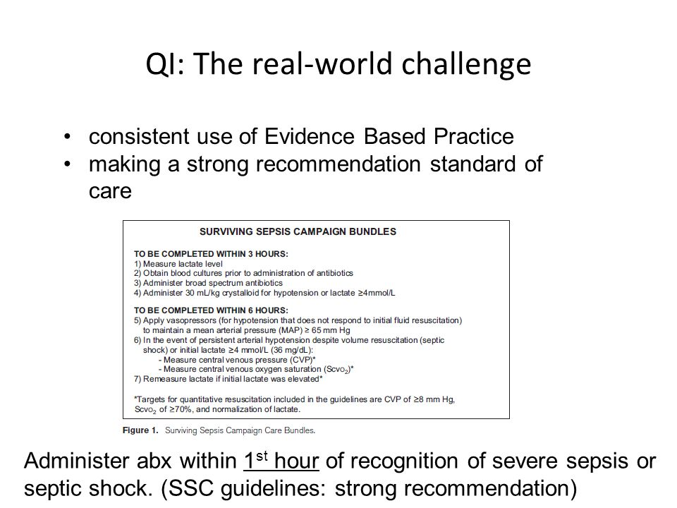 QI: The real-world challenge consistent use of Evidence Based Practice making a strong recommendation standard of care Administer abx within 1 st hour of recognition of severe sepsis or septic shock.