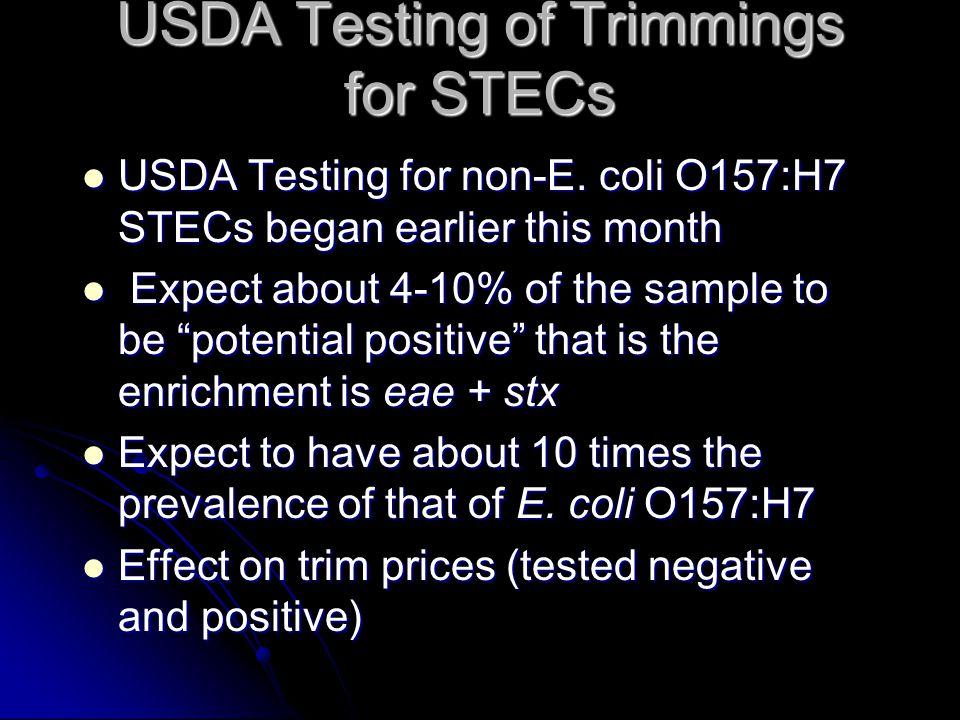 USDA Testing of Trimmings for STECs USDA Testing for non-E.
