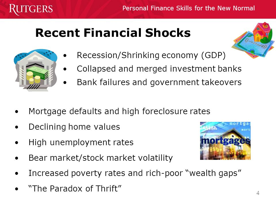 Personal Finance Skills for the New Normal 4 Recent Financial Shocks Recession/Shrinking economy (GDP) Collapsed and merged investment banks Bank fail