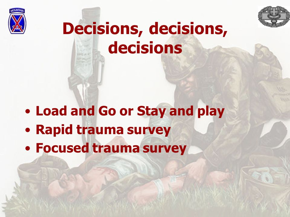 Initial assessment General impression- your gut feeling on patient status and priority of transport LOC- AVPU on patient with simultaneous initiation of c-spine immobilization Airway- open/clear if not fix it Breathing- rate/quality interventions to airway- oxygen by NRB or BVM Circulation- compare radial vs.