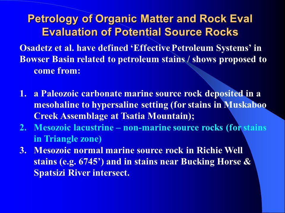 Petrology of Organic Matter and Rock Eval Evaluation of Potential Source Rocks Osadetz et al. have defined 'Effective Petroleum Systems' in Bowser Bas
