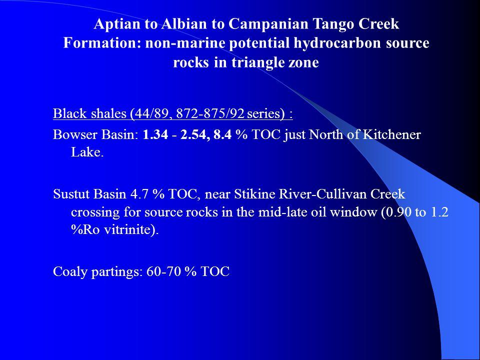 Black shales (44/89, 872-875/92 series) : Bowser Basin: 1.34 - 2.54, 8.4 % TOC just North of Kitchener Lake. Sustut Basin 4.7 % TOC, near Stikine Rive