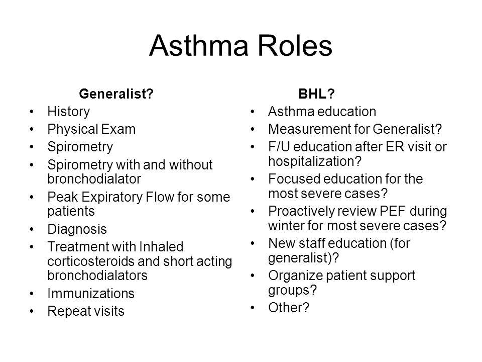 Asthma Roles Generalist.