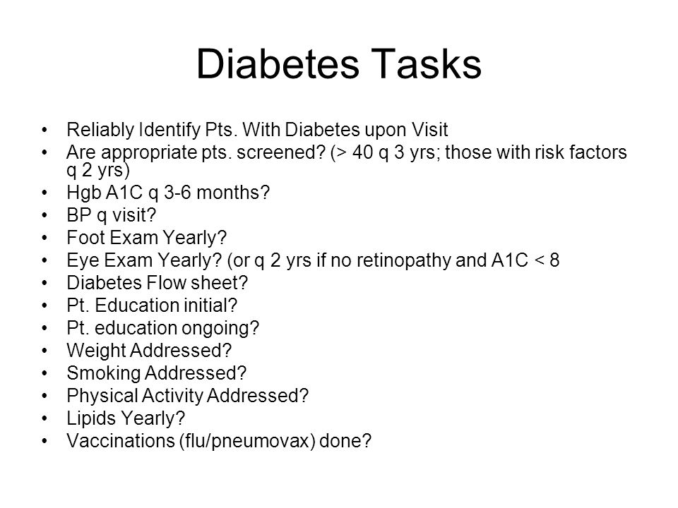 Diabetes Roles Generalist Reliably Identify Pts.With Diabetes upon Visit Are appropriate pts.